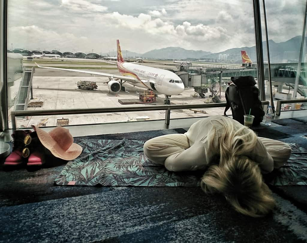Butterfly Yoga Pose Meditation Breathing - Hong Kong Airport - Happy Travel Health ways to stay healthy